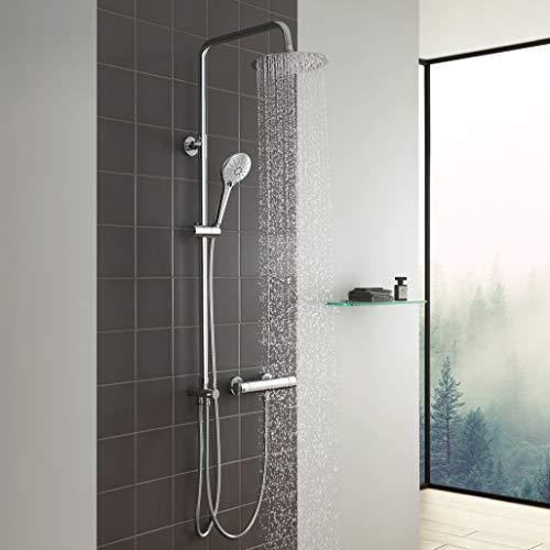 CECIPA Duschsystem ohne thermostat Armatur Duschset,Regendusche mit Kopfbrause Duschstange und Duschkopf für Badezimmer,Chrom