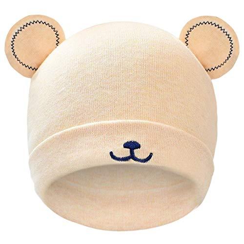 heekpek Sombrero de Bebé Gorro de Bebé Invierno Otoño Niña Niño Algodón 100% Lindo Oso Oreja Recién Gorro de Punto Cálido Gorro Bebé Sombreros Gorro Cálido para Niña Gorro Beanie para Bebé (Beige)