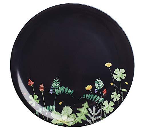 KAHLA 323439A50663C Moon Meadow Pizzateller 31 cm schwarz-blau Porzellan Geschirr mit Blumendekor
