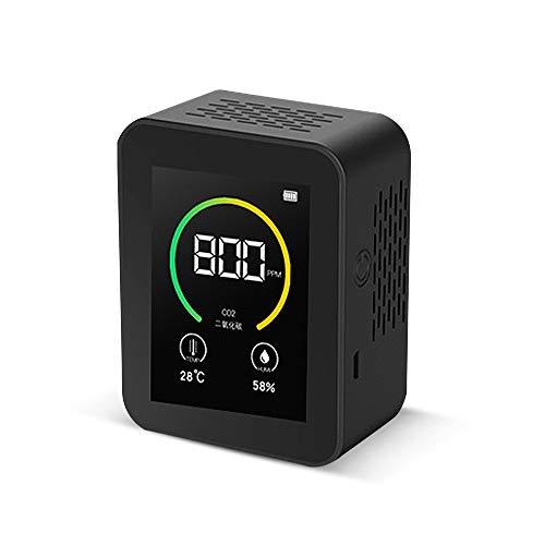 Tickas Kohlendioxid CO2-Detektor Gaskonzentration Inhalt Farbbildschirm TFT Intelligenter Lufttester Luftqualitätsanalysator mit Temperatur-Feuchtigkeits-Anzeige 400-5000PPM Messbereich,CO2-Detektor