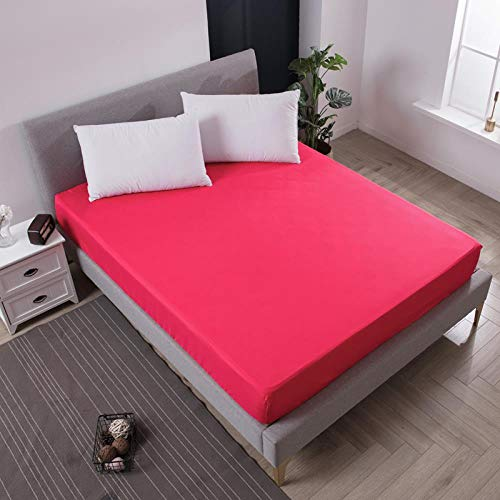iMyoung Solid Color Bed Mattress Cover Waterproof Mattress Protector Pad Fitted Sheet Bug Proof Mattress Topper Bed Linens with Elastic, Rose red,150X200X30cm