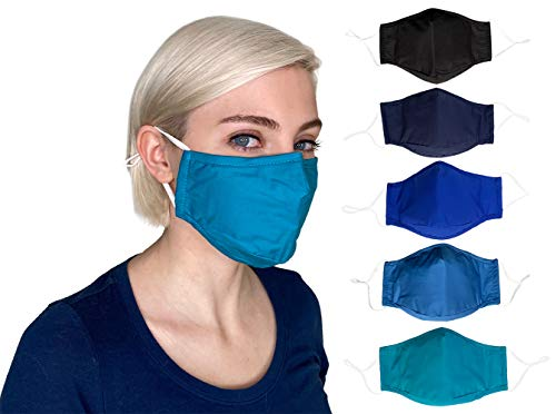 Cloth face Masks Washable Reusable, Breathable Cotton face Masks for Women, Men, 3 layer Cotton with Nose Wire, Filter Pocket, Adjustable Ear Loops, 4 Layer 3D Fabric face mask (Adult, 5-Pack)