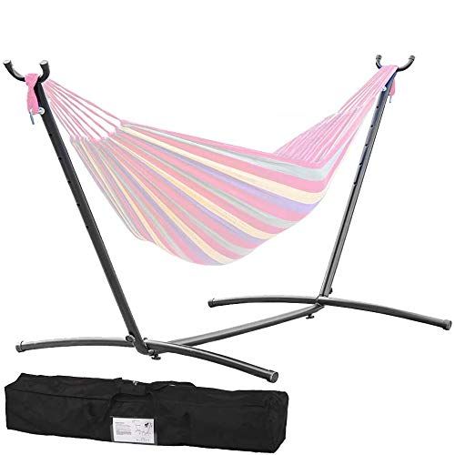 Hammock Stand Heavy Duty Portable Steel Stand Only with Carrying Case Adjustable 9Foot Indoor Outdoor 2 Person Large Camping Weather Resistant Hammock Stands for Backyard Decor Bed Patio Lawn Garden