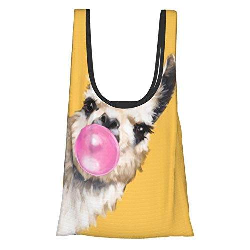 Bubble Gum Sneaky Llama in Yellow Theme Convenient, Fashionable, Reusable Environmentally Friendly Shopping Bag.
