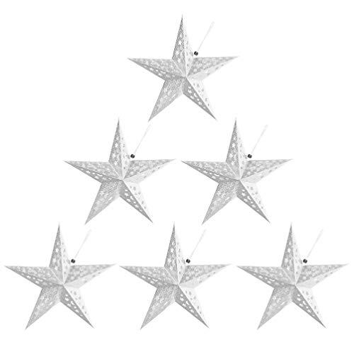 OSALADI 6 Stücke Papierstern Stern Hängend Papier Lampenschirme Weihnachtsstern Weihnachtsbaum Anhänger Tannenbaum Deko Christbaum Ornament Zuhause Weihnachtsdeko 30 cm