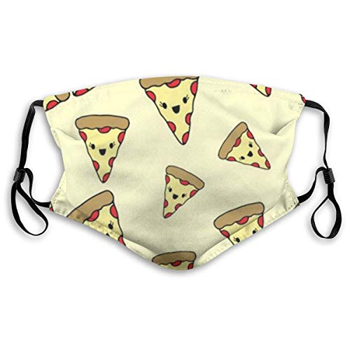 Pizza Face Neck Gaiter Scarf Custom Washable Half Buff Face Cover Funny Cute Balaclava Bandana Cloth(One + 10 Filters)
