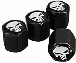 Funnytoday365 4X Black Car Auto Wheel Tyre Tire Stem Air Valve Caps Dust Covers Skull Punisher