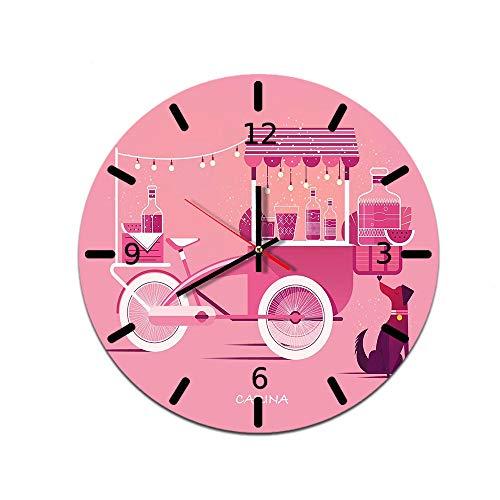 LUOYLYM Reloj De Pared Creativo Casero De Dibujos Animados Reloj De Decoración De Pared De Acrílico Reloj De Espejo De Movimiento Mudo L181125-a09 28CM