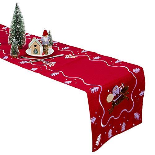 litty089 Decoratie voor Kerst Tafelkleed, Elegante Unieke Kerstman Borduren stijl, Home Party Eettafel Cover Mat
