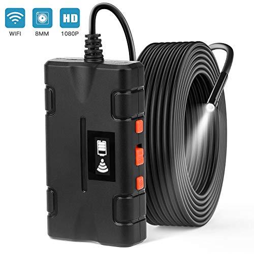 DIAHOUD WiFi Endoskop RUMIA 5M Halbsteife Kabel wasserdichte Kabelloses Endoskopkamera mit 8 LED Licht,5.0 Megapixel Schlangenkamera für Android,IOS,iPhone,Smartphone,8mm