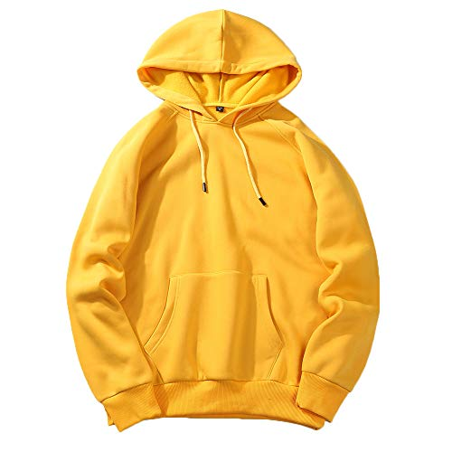 UJUNAOR Herren Langarm Hoodie T-Shirt Kapuzenshirt Mit Kapuze Männer Pullover in Vielen Farben(Gelb,S)