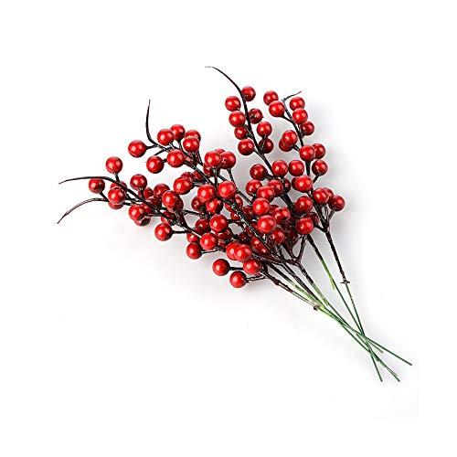 GRANDLIN - 40 steli artificiali di bacche di Natale con agrifoglio, bacche, fiori artificiali di frutta, bacche, ramo di fiori fai da te, albero di Natale, decorazione artigianale