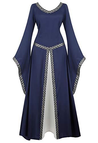 Womens Irish Medieval Dress Renaissance Costume Retro Gown Cosplay Costumes Fancy Long Dress Deep Blue-L