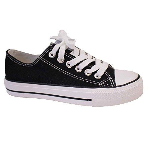 Zapatillas de mujer de tela con suela de goma, Negro (negro), Fr 38