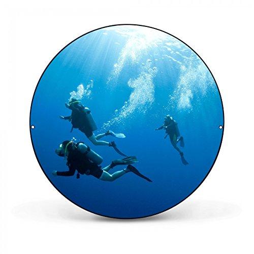 Design Magnettafel von banjado | Pinnwand magnetisch 47cm Ø | Memoboard mit Motiv Taucher | Magnetwand schwarz aus Metall rund