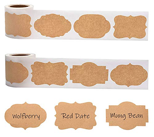 Elinala Etichette Kraft Adesivo Autoadesivo, Etichette per Barattoli, Le Etichette in Carta Kraft Marrone Bianco Vengono Utilizzate in Barattoli da Cucina e Cosmetici. (300 per Rotolo)