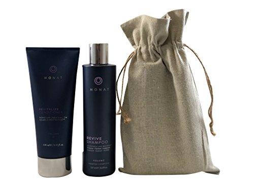 Monat Volume Revive Shampoo and Volume Revitalize Conditioner with Linen Bag Set Bundle