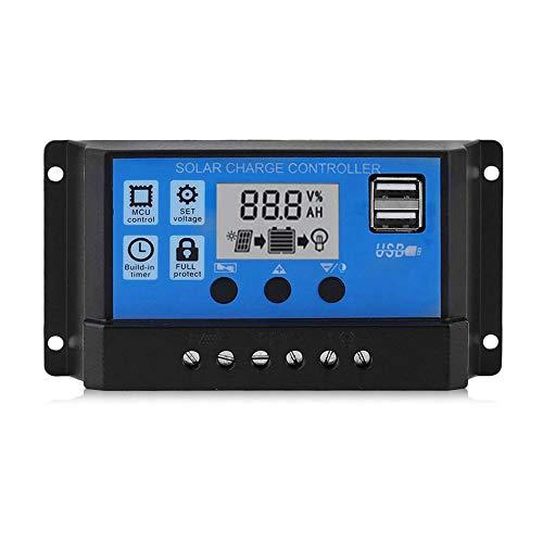 Chnrong Controlador de cargador solar de 12 V/24 V, regulador inteligente de batería con puerto USB 5 V/3 A, temporizador de luz, pantalla LCD 50 A.