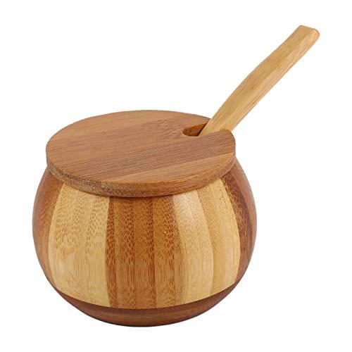 Exanko Salero Natural De Bambú De La Cocina Botella De Especias para El Hogar con Tapa Caja De Almacenamiento Accesorios De Cocina Tarro De Condimento Color De Madera Madera De Bambú