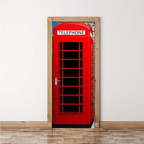 Etiqueta De La Puerta Mural Decoración Del Hogar Cabina De Teléfono Roja Pvc Autoadhesiva Etiqueta De La Puerta 3D Respetuoso Del Medio Ambiente Papel Tapiz De Vinilo Impermeable 95 * 215 Cm