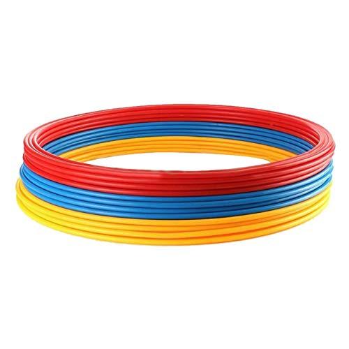 Anillos de plástico para entrenamiento de velocidad, 12 piezas, juego de pies, práctica de fútbol, anillo de entrenamiento de baloncesto multicolor (rojo+azul+amarillo)