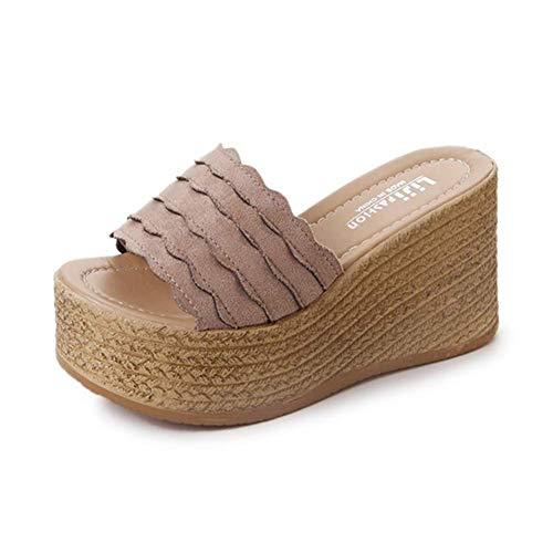 Keilsandalen Flip Flops Sommer Keil Peeptoe Sandaletten Elegant Schuhe,Khaki,40