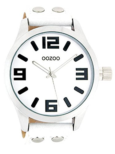 Oozoo Mädchen-/Damenuhr mit Lederband 34 MM Weiss/Weiss JR155