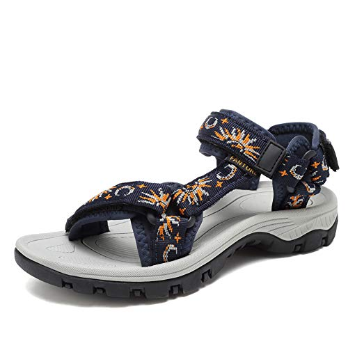 EQUICK Sport Sandals for Women, Open Toe Strap Sandal Anti-skidding Outdoor Water Sandals Comfortable Athletic Sandals for Beach-U219SLX027-Navy-40