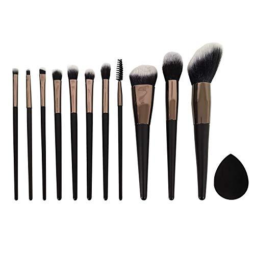 Nos Pensées - Ensemble de brosses de maquillage professionnels (brosses pour les yeux, blush, contour, correcteur, éponge de base) élégant cas de voyage
