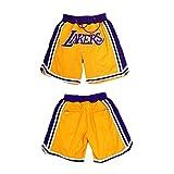 GAOXI Lakers Bordado Bordado Pantalones Cortos de Baloncesto Deportes de Verano Fitness Transporte Shorts Men's Amarillo Púrpura Negro, Regalo de Baloncesto XL-5XL Yellow-XL