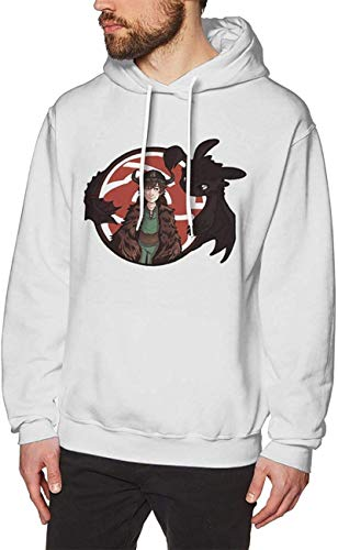 How to Tr_Ain Your Dra_Gon Hoodie Sweatshirt Men's Cotton Long Sleeve Pullover Swearshirt Drawstring Hoody Tops,White,X-Large