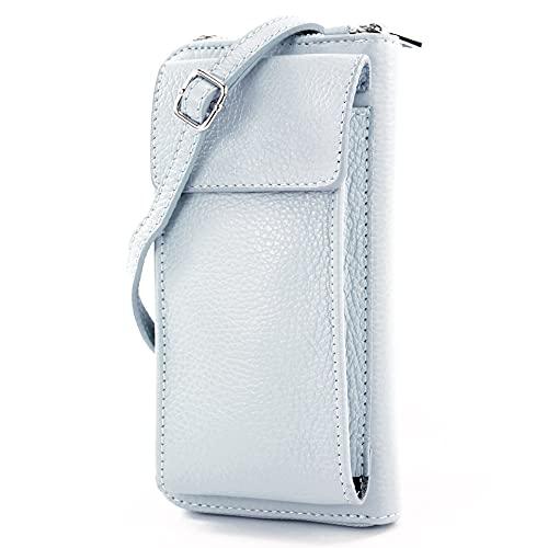 modamoda de - P06 - ital. Damen Umhängetasche Geldbörse Handytasche Leder, Farbe:Eisblau