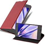 Cadorabo Hülle für Sony Xperia XA1 - Hülle in Apfel ROT – Handyhülle mit Magnetverschluss, Standfunktion & Kartenfach - Hülle Cover Schutzhülle Etui Tasche Book Klapp Style