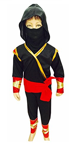 fancy steps Fancy Dress Ninja Costumes Action Fancy Dress Costumes Birthday Gift (6 to 8 Years)-Black