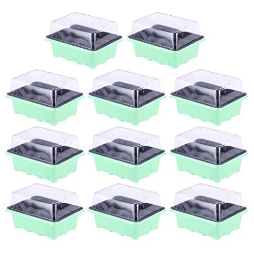 DOITOOL 10 Piezas 12 Celdas Propagador Auto-Riego Cesta Hidropónica Kit de Bandeja de Germinación Germinadora de Semillas sin Suelo con Tapa para Jardín Hogar (Verde)
