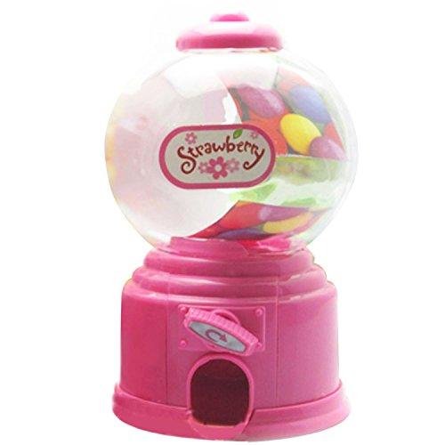 Gosear Mini Máquina Expendedora de Habas de Jalea Chicles Gomitas Azúcar Caramelo de Gumball/Dispensador de Snack para Novedad Fiesta Cumpleaños Regalo Juguetes para Niños,Rosa
