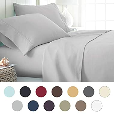 ienjoy Home Hotel Collection Luxury Soft Brushed Bed Sheet Set, Hypoallergenic, Deep Pocket, King, LGray