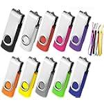 16GB USB Flash Drive 10 Pack, Aretop Premium USB2.0 Swivel Flash Drive Classic 16GB Pen Drive Memory Stick Thumb Drive Bulk Jump Drive Pack 10Pcs Computer Data Storage Mix Colors