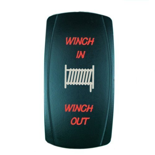 OctagonStar 7Pin Laser Red Momentary Rocker Switch Winch In/Out 20A 12V (On)-Off-(On) LED Light