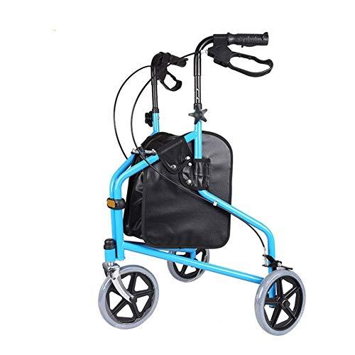 Andador de Altura Ajustable con Mango Manija de Freno para Personas discapacitadas Caminante Anciano Asistido Carro de la Compra Plegable Tres Ruedas