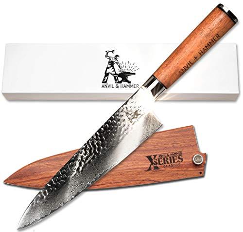 Anvil and Hammer – Cuchillo de Acero Damasco - Profesional, 67 Capas, 20.32 Cm, Hoja de acero acabada VG-10, Mango Full Tang completamente en palisandro africano, Con elegante caja de regalo.