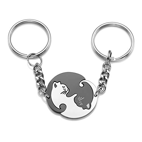 JOVIVI 2pcs Stainless Steel Couples Keychains Black White Cat Puzzle Piece Matching Couple Keychain Set Yin Yang Matching Puzzle Keychain His & Her Lover Gift