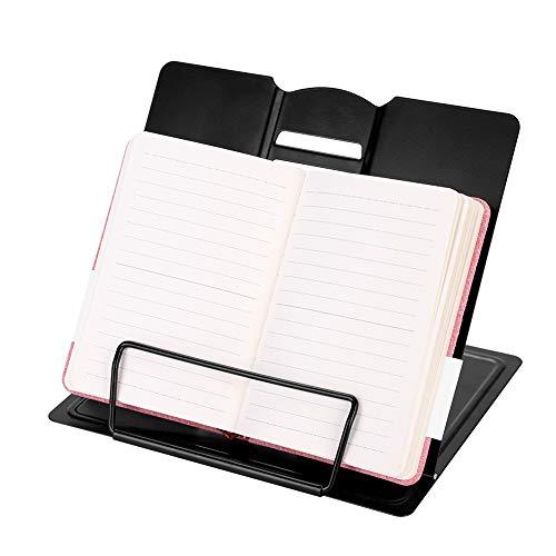 Boekenstandaard, metalen tafelstandaard, voor kantoor, school, boekhouder met 6 instelbare hellingshoeken, boekensteunen, volwassenen en kinderen, eenkleurig, bewegende clip, muziekstandaard voor keuken en bibliotheek