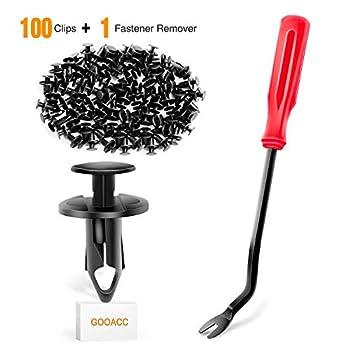 GOOACC GRC-44 100PCS Nylon Bumper Rivet Clips for GM 21030249 for Ford N807389S,1PC Bonus Fastener Remover