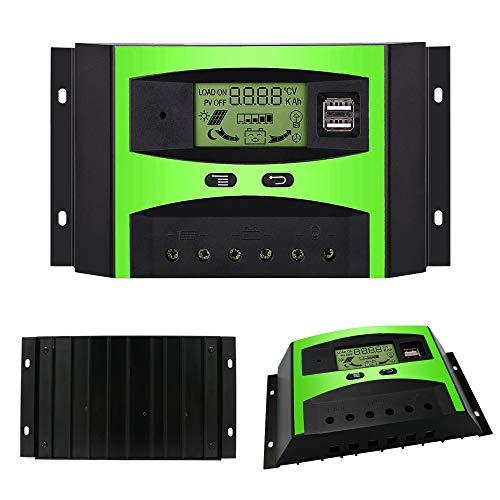 GIARIDE 30A 12V 24V Solarregler Solar Ladegerät Solarladeregler Solarpanel Regler PWM Intelligente Regler SolarLaderegler Überlastschutz Mit USB für 12V Batterie