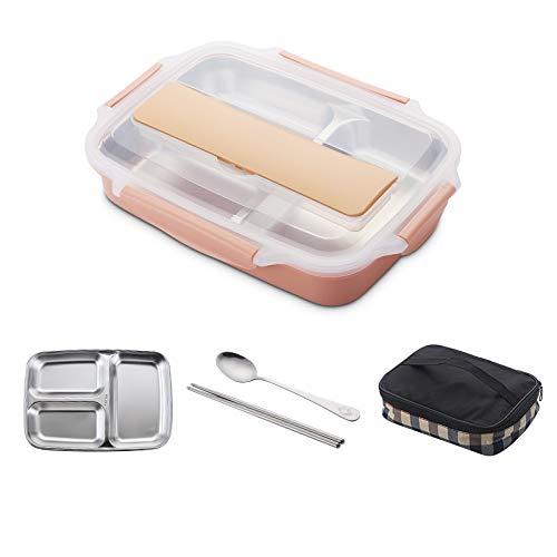 Foshuo Compartimento Eco Lunch Box,Lonchera Portátil Caja Bento Tiers Burfly Cualquiera Lleva Bolsa de Almuerzo Seal Bento Box Picnic para niños Adultos Bolsa de Almuerzo