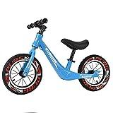 Bueuwe Bicicletas Sin Pedales para Niños de 3-7 Años hasta 35 Kg Bici con Ruedas de 14' Bicicleta De Equilibrio con Asiento Ajustable Y Marco De Aleación De Magnesio,Magnesium Alloy Blue