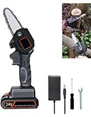 Mini elektrische kettingzaag, 4 inch, accu kettingzaag, protable mini elektrische kettingzaag, werkt op batterijen, elektrische motorzaag, mini-houtsnijder, oplaadbaar, licht