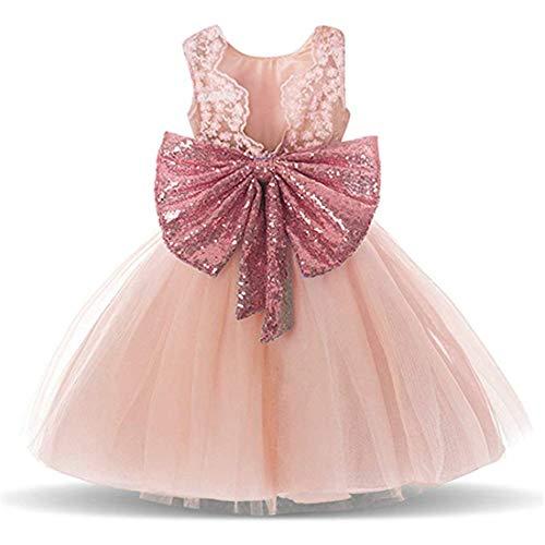 Toddler Dress Flower Girl Dresses for Wedding Girls Backless Sequins Pageant 6-12 Months Elegant Tulle Dresses Clothes Sleeveless Playwear (Pink, 80)