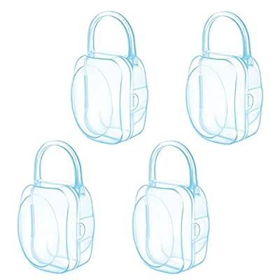 LANEYLI Pacifier Case Pacifier Holder Binky Holder Case Pacifier Box for Diaper Bag Home Travel Outdoor Activities 4 Pack Blue